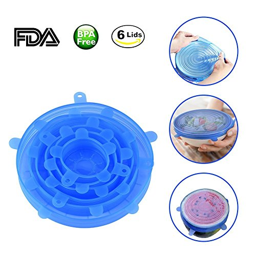 Silicone Food Wrap 6-Pack, SICAO Silicone Stretch Bowl Lids Food Saver Covers Pot Cup Lids- BPA Free, Dishwasher, Microwave, Oven and Freezer Safe