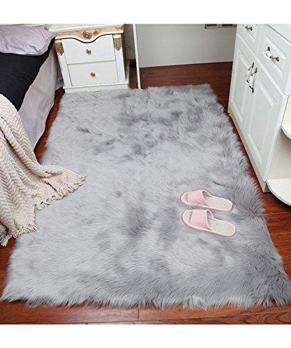 Funda silla de área alfombra Shaggy de grosor de peluche super suave de piel sintética piel de oveja almohadilla de asiento...