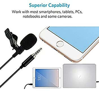 Lavalier Lapel Microphone Kit, Z ZAFFIRO Clip on Omnidirectional Condenser Lav Mic for Iphone, Ipad, Gopro, DSLR, Camcorder, Zoom/Tascam Recorder, PC, Macbook, Samsung Android, Smartphones