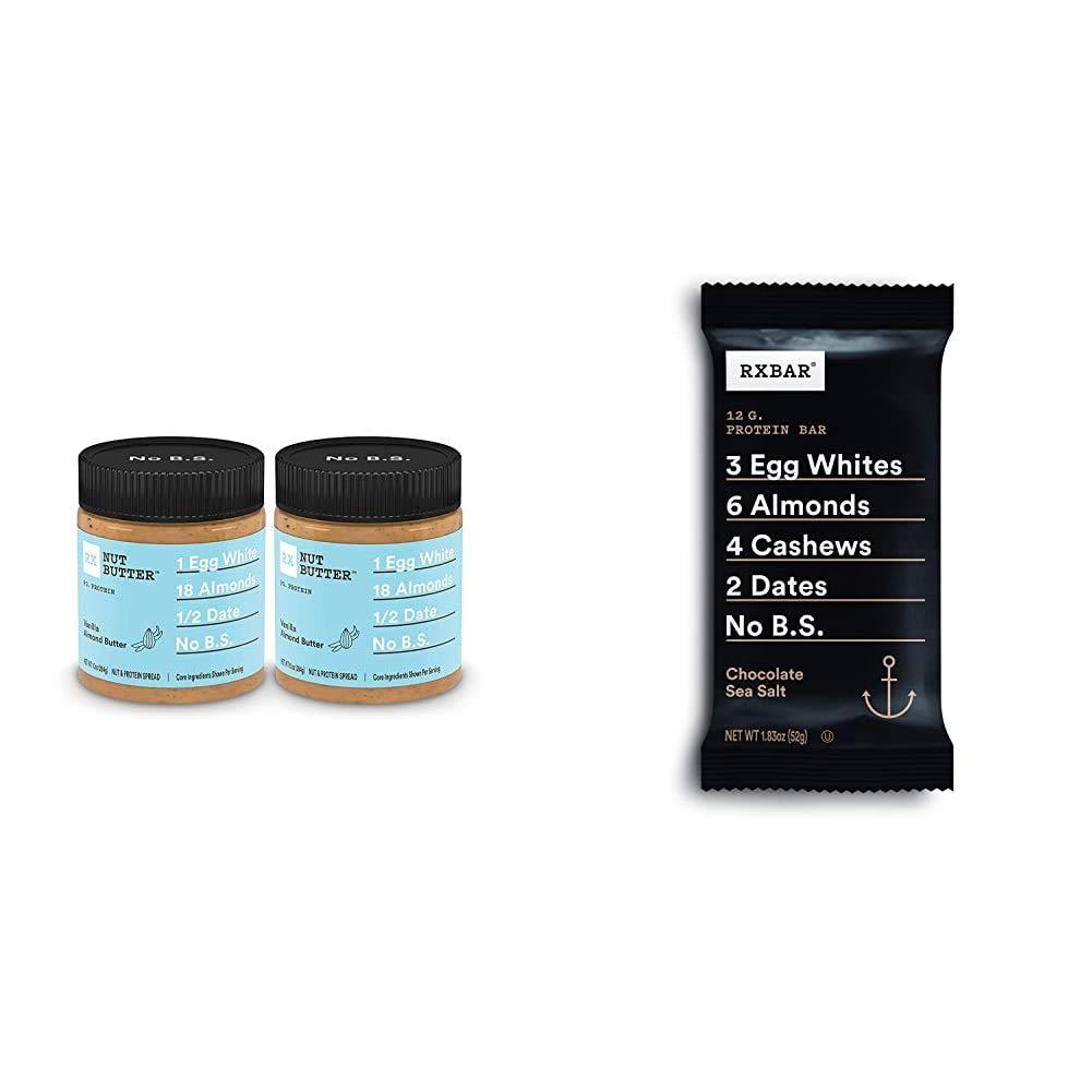 RX Nut Butter, Vanilla Almond Butter, 10oz Jar, Pack of 2, Keto Snack, Gluten Free & Chocolate Sea Salt, Protein Bar, 1.83 Ounce (Pack of 12), High Protein Snack, Gluten Free