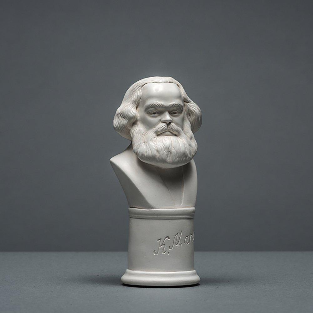 Skulpturenmanufaktur Potsdam Karl Marx - Scultura in cellulosa di Alta qualità , Lavorata a Mano, 13 cm, Colore: Bianco Alex Agwanjan