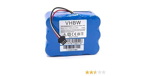 vhbw NiMH batería 3000mAh (14.4V) para robot limpiasuelos robot autónomo de limpieza H.Koenig SWR22: Amazon.es: Hogar