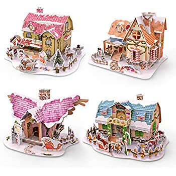 FUN LITTLE TOYS 3D Puzzles for Kids in 4 Styles, 134 PCs Jigsaw Puzzles, Birthday Gifts for Boys and Girls