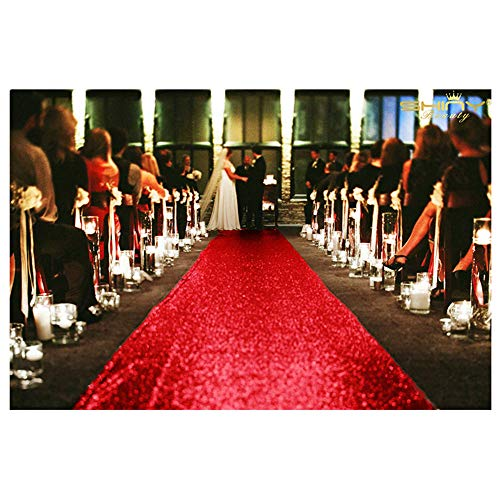 ShinyBeauty Red-Carpet Aisle Runner-36Inchx15FT Sequin Aisles Floor Runner Carpert Runner ()