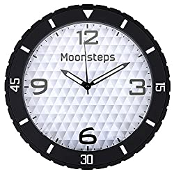Halconia Rubber Tire Frame Silent Non-Ticking Large Dial Home & Office Wall Clock, Black
