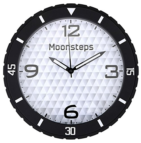 (Halconia Rubber Tire Frame Silent Non-Ticking Large Dial Home & Office Wall Clock, Black)