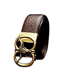 QIU PING - Cinturón de piel de cocodrilo para hombre