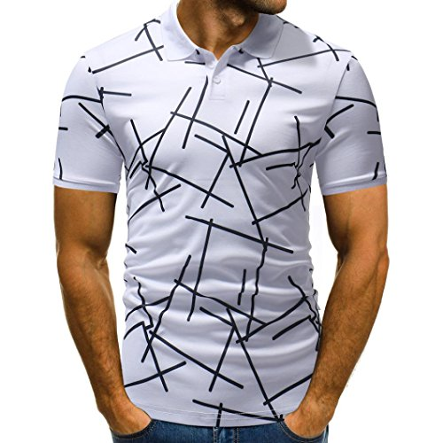 - vermers Mens Polo Shirts Buttons Design Half Cardigans Short Sleeve Patchwork Casual T Shirt(XL, White)