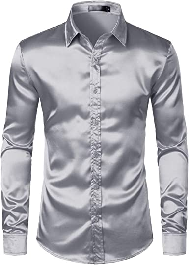 Mens Polo Shirtcamisas De Vestir Satén para Hombres Camisa De Fiesta De Baile Informal De Seda De Corte Slim para Hombres Camisa De Esmoquin Sin Arrugas De Manga Larga Hombre: Amazon.es: Ropa