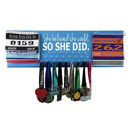 Running On The Wall Medal Hanger Display and Race Bibs SHE Believed SHE Could, SO SHE DID Double Race Bib - Double Bib