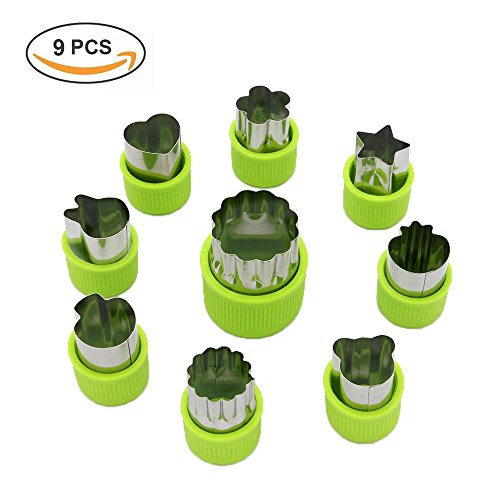 Vegetable cutter shapes Set,mini pie,fruit and Cookie Stamps Mold,cookie cutter Decorative Food,for kids baking and food supplement tools accessories crafts for Christmas,green,9 (Mini Cookie Cutters)