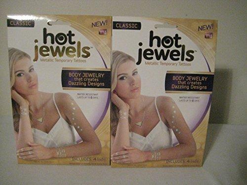 (Hot Jewels Metallic Temporary Tattoos set of 4 sheets Classic )