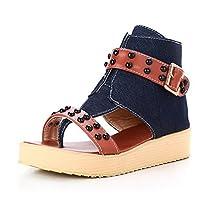 WeenFashion Women's Split Toe Low-heels Soft Material Zipper Flip-Flop-Sandals