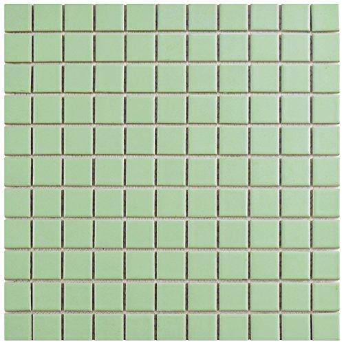 Green Glazed Porcelain - SomerTile FXLMS1GR Retro Square Porcelain Floor and Wall Tile, 11.75