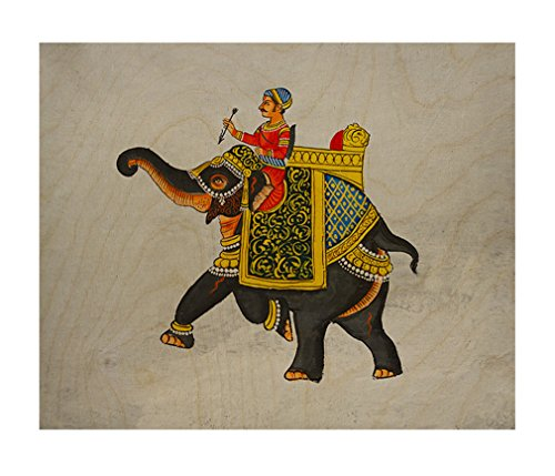 Elephant Wood Mural (Mural Maharaja Riding Elephant Wood Print Wall Art Wall Decor - 16