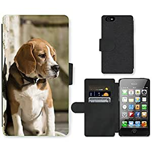 Hot Style Cell Phone Card Slot PU Leather Wallet Case // M99999818 Dog Puppy Pattern // Apple iPhone 4 4S 4G
