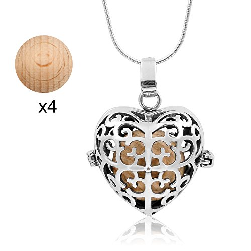 Maromalife Diffuser Necklace Aromatherapy Necklace Stainless Steel, No Fade, No Rust, No Bleed, Adjustable Chain-Silver [Upgrade] (Liquid Silver Leather)