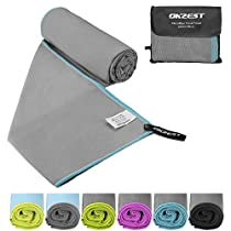 Microfiber Beach Towel, OKZEST Sports & Travel Towel (XL 70 X 35) Ultra Absorbent and Quick Dry Towel Lightweight Swimming Towel for Yoga Gym Bath Fitness Camping