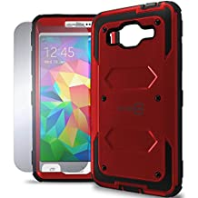 Galaxy Grand Prime Case, CoverON® [Tank Series] Hybrid Hard Armor Protective Phone Case and Screen Protector For Samsung Galaxy Grand Prime - Red & Black