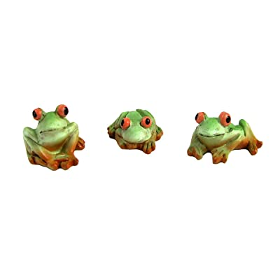 TG,LLC Treasure Gurus Miniature Pet Frogs Figurine Set Outdoor Dollhouse Supply Fairy Garden Decor Accessory: Home & Kitchen