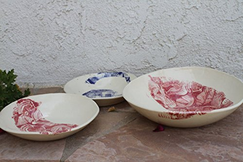 Pasta Bowl and Plate set handmade ceramic nesting bowl set modern dinnerware set salad plates
