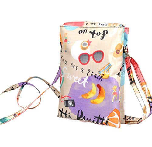 Dreams Mall(TM)Colorful Style Universal Canvas Mobile Phone Bag & Pouch & Purse & Mini Shoulder Bag for iPhone 6/Plus 5/5S/5C iPhone 4/4s Samsung Galaxy Note 2/3/4 Samsung Galaxy S6 S5 S4 S3 And All Other Kinds of Mobile Phones-Fruits