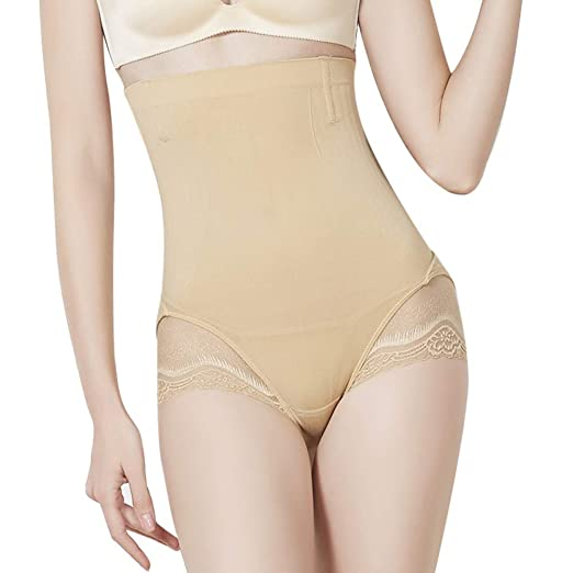 d447ee6e34 ChYoung Women s Postpartum Hi-Waist Body Shaper Seamless Tummy Control  Slimming Panties Lace Slim Waist Trainer at Amazon Women s Clothing store