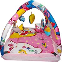 Kidoyzz Baby Bedding Set with Mosquito Net and Play Gym with Hanging Toys (Pink)