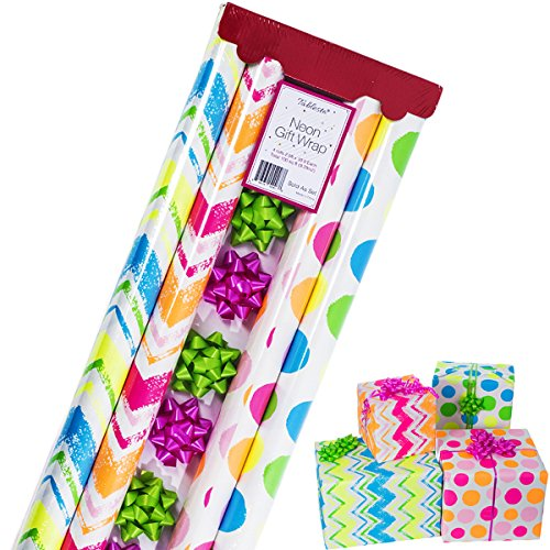 Gift Wrapping Paper – All Occasion Wrapping Paper – Wrapping Paper with Patterns - Premium Neon Gift Wrap for Boys, Girls, 4 Rolls - 2.5 ft x 10 ft per -
