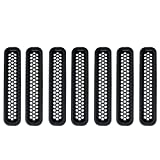 Hooke Road Black Front Grille Clip-in Mesh Inserts for 1997-2006 Jeep Wrangler TJ & Unlimited (Pack of 7)