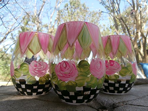 Goblet Painted Hand - Hand painted pink rose/checks stemless wine goblets. set/4