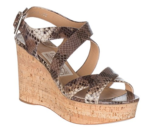 Salvatore Ferragamo Women's Persy Snake-Embossed Leather Platform Wedge Sandals Shoes, 7.5, Sesamo/Butter Embossed Leather Wedge Sandal