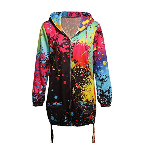 Sudadera cordón abrigo Black floral Sudadera estampado Desgastar con Ropa cremallera bolsillo capucha y capucha con con con y de CFw6Fqd