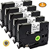 NEOUZA 5PK Compatible For Brother P-Touch Laminated TZe TZ Label Tape Cartridge 12mmx8m (TZe-231 Black on White)