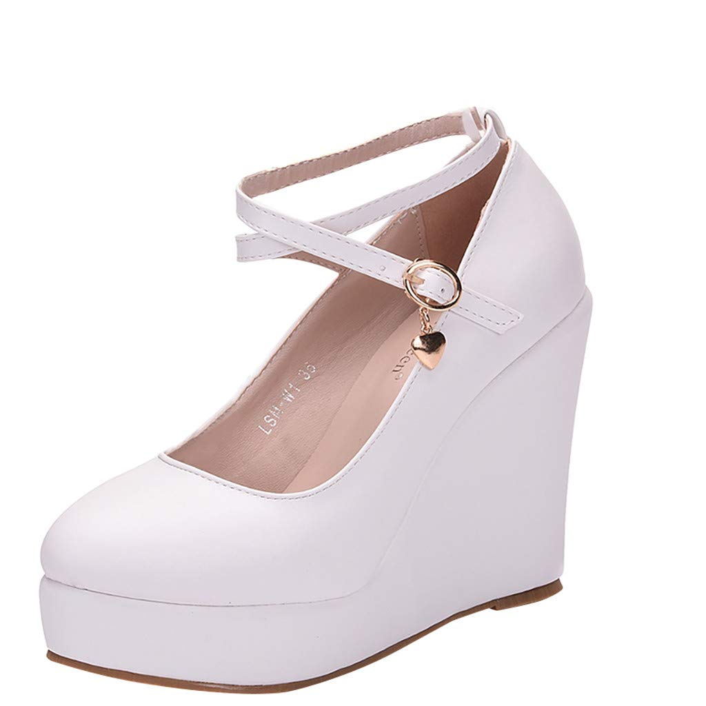 Lefthigh Women's Ladies Fashion Cross Strap Large Size Platform Wedges Shoes for Office Working by Lefthigh