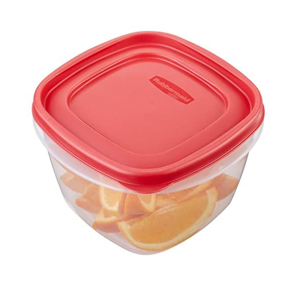 Rubbermaid Easy Find Lids Food Storage Containers, Racer Red, 42-Piece Set 1880801 5 Plastic food storage containers feature Easy Find Lids that snap on to container bases as well as same size lids, so you can always find lids when you need them, and your cabinets stay organized Great for fridge and cabinet storage, crafts, and more Nests easily with other containers for compact storage