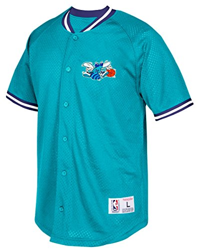Charlotte Hornets Mitchell & Ness NBA Seasoned Pro Men's Button Up Jersey Shirt