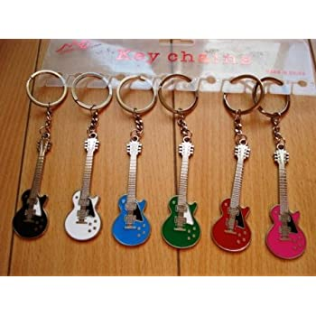 Amazon Com Guitar Keychain Assorted Colors Key Tags And Chains