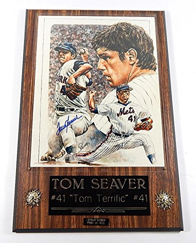 Signed Tom Seaver Photograph - Limited Edition 11 x 14 On Plaque ^ COA - Autographed MLB Photos