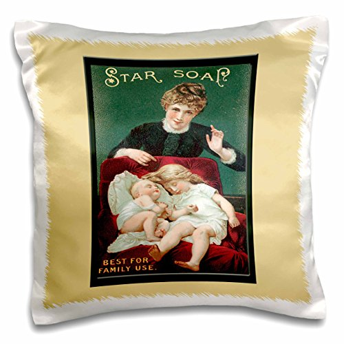 BLN Vintage Trade Cards Featuring Children Advertising Art - Star Soap Best for Family Use Victorian Era Woman, Small Girl and Baby in a Red Chair - 16x16 inch Pillow Case (pc_156866_1) (Card Soap Victorian Trade)