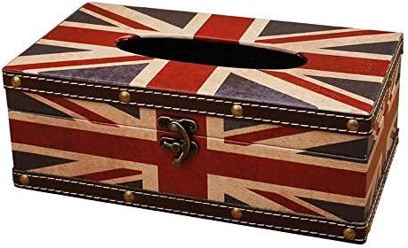 HXLG トイレットペーパーホルダー Slivyクリエイティブヴィンテージイギリス国旗のティッシュボックスカバー、カートン長方形