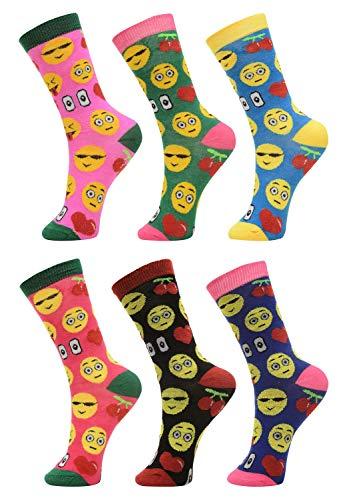 6 Pack of of Womens Girls Crew Socks Funny Novelty Colorful Cute Patterned Casual Socks, Emoji Socks