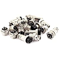 uxcell 10Pairs 16mm Thread 5 Pins Male Female Panel Metal Aviation Wire Connector