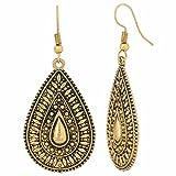 Efulgenz Indian Vintage Retro Ethnic Dangle Gypsy Oxidized Gold Tone Boho Hook Earrings for Girls and Women Love Gift