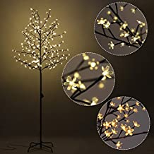 Goplus Cherry Blossom Lighted Tree LED Floor Lamp Warm White for Christmas Tree, Party, Wedding, and Festival Deoration (7FT 220LED)