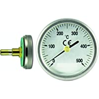 TERMOMED Termómetro para Puertas de Horno de leña, Escala de 0 a 500ºC, diámetro de la Esfera 35 mm. Vaina de 30 mm.