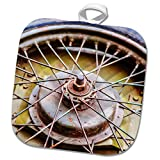 3dRose Alexis Photography - Objects - Old used and rusty spare extra wheel of a vintage motorcycle - 8x8 Potholder (phl_273288_1)