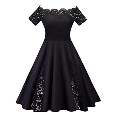 618729cafe Women Plus Size Fashion Solid Lace Patchwork Short Sleeve Party ...
