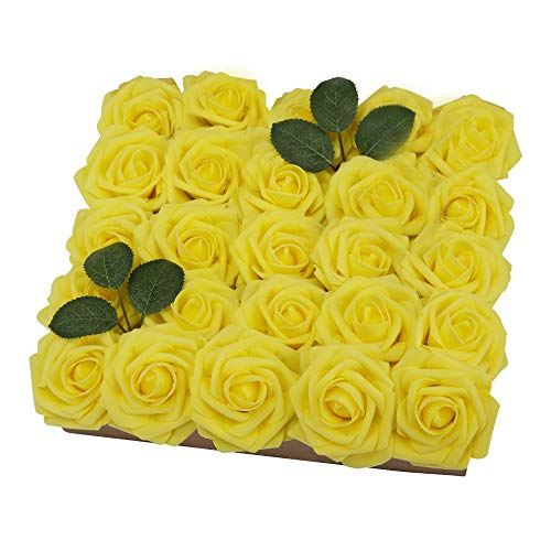 YINGSHENG Fake Roses Yellow 25pcs Real Looking Flowers Artificial Rose w/Stem