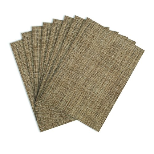 (Benson Mills Tweed Woven Vinyl Placemats, Natural, Set of)